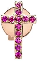 Sydney Evan Ruby Cross Stud Earring - Rose Gold
