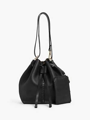 AND/OR Small Leather Drawstring Shoulder Bag, Black Snake