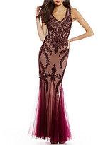 Cachet Illusion Mermaid V-Neck Sleeveless Gown
