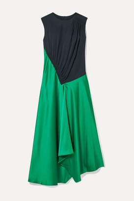 Cédric Charlier Asymmetric Paneled Crepe And Satin Midi Dress - Green