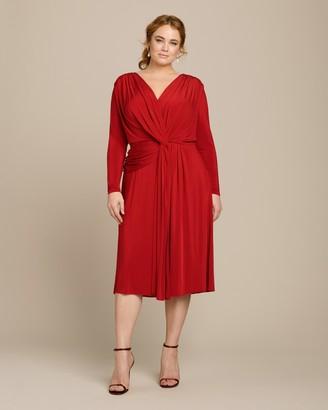 Jason Wu Collection Jersey V-Neck Twist Long Sleeve Cocktail Dress