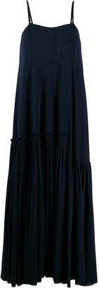 Jil Sander Tiered Pleated Hem Maxi Dress