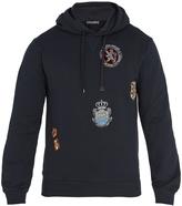 Dolce & Gabbana Crest-appliqué hooded cotton sweatshirt