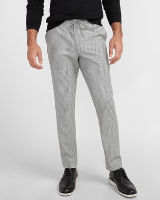 Express Slim Gray Houndstooth Flannel Drawstring Suit Pant