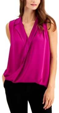 Alfani Petite Sleeveless Surplice-Neck Blouse, Created for Macy's