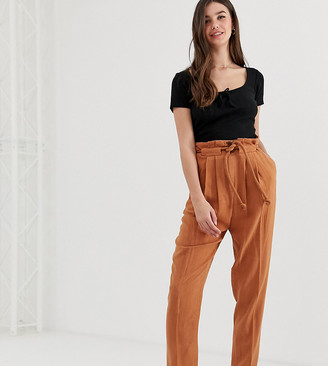 Asos DESIGN Tall gutsy linen tapered trousers with rope belt