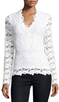 Nightcap Clothing Dixie Lace V-Neck Top, Dove