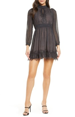 French Connection Dayo Lace Trim Long Sleeve Minidress