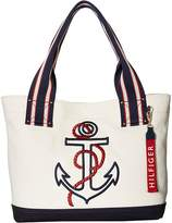 Tommy Hilfiger Classic Tommy Shopper Anchor Canvas Tote Tote Handbags