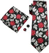 Hi Tie Hi-Tie Men's Exquisite Blue Floral Necktie Set Formal