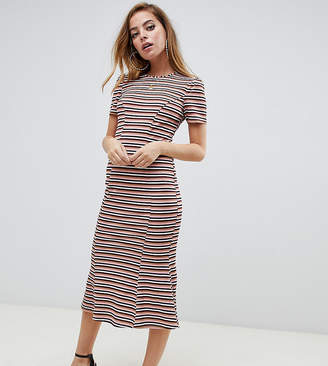 Asos DESIGN Petite city maxi dress in stripe rib-Multi