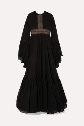 Giambattista Valli Lace-trimmed Tiered Silk-chiffon Gown - Black