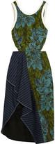 3.1 Phillip Lim Cutout pinstriped linen-paneled jacquard dress