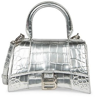 Balenciaga Extra-Small Hourglass Metallic Croc-Embossed Leather Top Handle Bag
