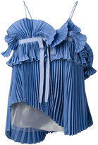 Rochas pleated top - women - Silk/Polyamide - 38