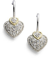 Judith Ripka Fontaine White Sapphire, 18K Yellow Gold & Sterling Silver Heart Drop Earrings