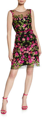 Marchesa Embroidered Sleeveless Cutout Dress with 3D Flowers