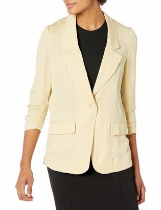 b new york Women's Ruffle Sleeve Crossover Back Blazer