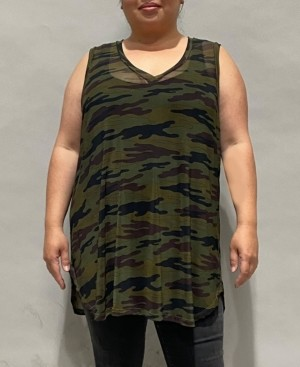 Coin 1804 Women's Plus Size Camouflage Mesh V-Neck Tank Top