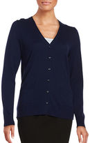 Lord & Taylor Petite Merino Wool Button-Front Cardigan