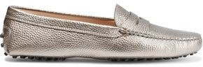 Tod's Metallic Pebbled-leather Loafers
