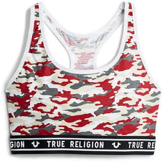 True Religion LOGO TRIM CAMO SPORTS BRA