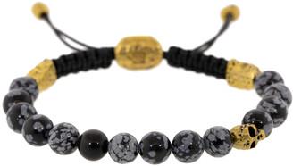 John Varvatos Grey Obsidian Skull Bead Bracelet