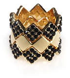 PeepToe Jagged Crystal Ring Set Jet