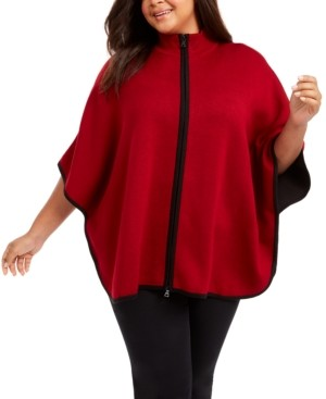 Anne Klein Plus Size Zip-Up Poncho Sweater