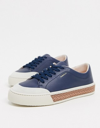 Fiorelli finley leather lace-up sneakers in navy