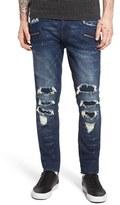 Rock Revival Men's Destroyed Coated Skinny Fit Moto Jeans