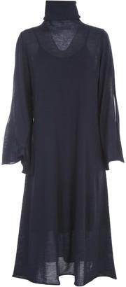 Liviana Conti Wool Long Dress L/s High Neck W/slit