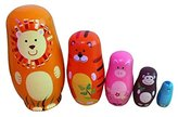 xlpace 5Pcs Wooden Nesting Dolls Matryoshka Animal Russian Doll for Christmas Birthday Gift