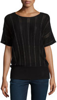 Design History Sheer-Stripe Pullover Sweater, Black