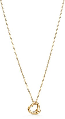 Tiffany & Co. Elsa Peretti Open Heart pendant in 18k gold with diamonds, 11 mm wide