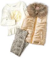 Juicy Couture Infant Girls) 3-Piece Faux Fur Trim Vest & Leggings Set