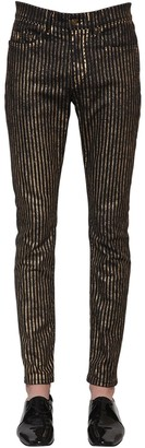 Saint Laurent 15.5cm Skinny Striped Cotton Denim Jeans