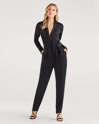 7 For All Mankind Satin Shawl Collar Jumpsuit in Jet Black