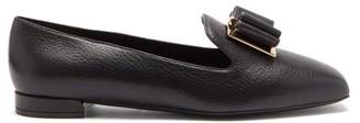 Salvatore Ferragamo Zaneta Double-bow Grained Leather Loafers - Black