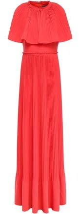 Lela Rose Cape-effect Pleated Crepe Gown