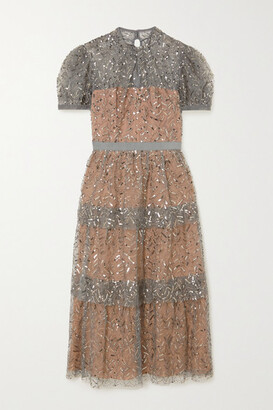 Self-Portrait Embellished Tiered Tulle Midi Dress - Gray