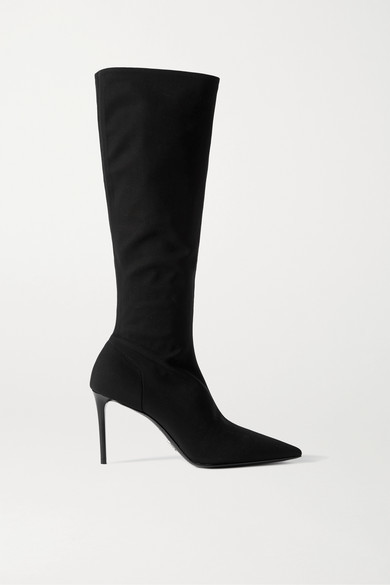 Prada 85 Stretch-knit Knee Boots - Black