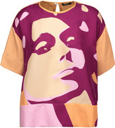 Raoul Printed silk-satin twill top