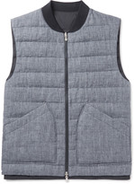 Brunello Cucinelli - Reversible Slub Linen And Tech-shell Down Gilet