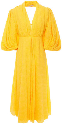 Emilia Wickstead Deva Open-back Cotton-blend Cloque Midi Dress