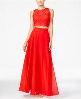 City Studios Juniors' 2-Pc. Lace A-Line Long Dress