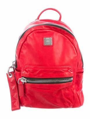 MCM Small Lush Leather Tumbler Backpack Red