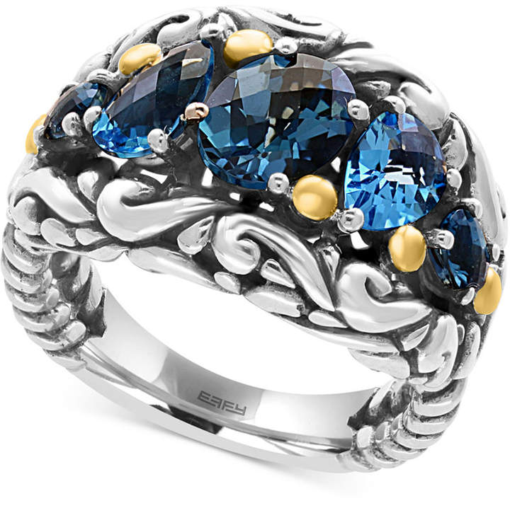 Effy Ocean Bleu Blue Topaz Ring (3-5/8 ct. t.w.) in Sterling Silver and 18k Gold
