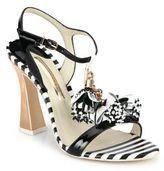Sophia Webster Layla Flower Tassel Patent Leather T-Strap Sandals