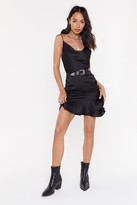 Nasty Gal Womens In Touch Satin Cowl Dress - black - L
